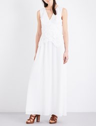 French Connection Manzoni Floral Lace And Georgette Maxi Dress Summer White