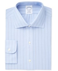 Brooks Brothers Men's Regent Classic Regular Fit Non Iron Blue Striped Dress Shirt