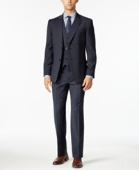 Tommy Hilfiger Men's Slim Fit Navy And Gray Glen Plaid Vested Stretch Performance Suit Navy Grey