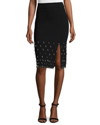 Jonathan Simkhai Beaded Knit Pencil Skirt Black