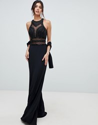 Forever Unique Embellished Cut Out Maxi Dress Black