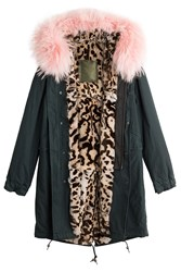 Mr And Mrs Italy Cotton Parka With Fur Leather Trim Green