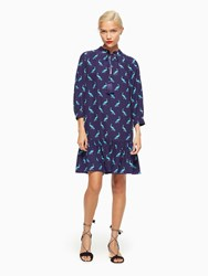Kate Spade Peacock Silk Dress Deep Sea