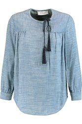 Derek Lam 10 Crosby By Tasseled Checked Cotton Top Sky Blue