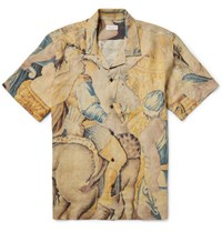 Dries Van Noten Carlton Camp Collar Printed Linen Shirt Pastel Yellow