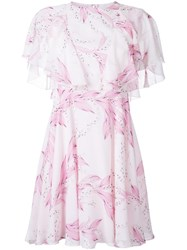 Giambattista Valli Floral Print Dress Pink Purple