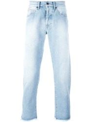 Off White Bleached Effect Slim Fit Jeans Blue