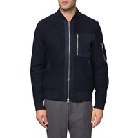 Gant Rugger Navy Woolly Bomber Jacket Blue