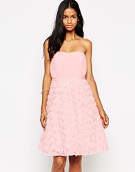 Club L Bandeau Midi Prom Dress With 3D Floral Skirt Nudeblack