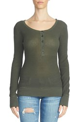 1.State Women's Waffle Knit Cotton Henley Tee Olive Tree