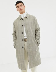 Selected Homme Bonded Cotton Trench Coat In Check Beige