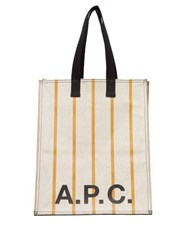 A.P.C. Cabas Striped Canvas Tote Bag Yellow White