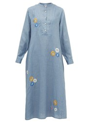 Thierry Colson Victoria Floral Embroidered Cotton Midi Dress Blue Print