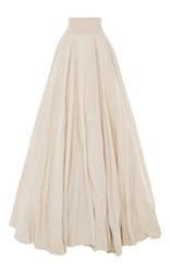 Luisa Beccaria High Waist Long Skirt With Train White