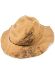Horisaki Design And Handel Wrinkled Burned Effect Hat Unisex Rabbit Felt L Nude Neutrals