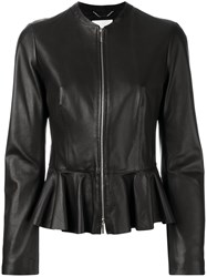 Hugo Boss Peplum Hem Jacket Women Leather Polyester 40 Black