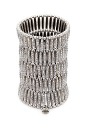 Philippe Audibert 'Almond' Swarovski Crystal Five Row Plate Elastic Bracelet Metallic