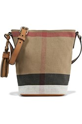 Burberry Mini Leather Trimmed Checked Canvas Shoulder Bag Brown