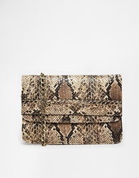 Marc B Foldover Clutch In Faux Snake Lattesnake