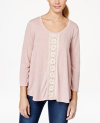 Eyeshadow Juniors' Crochet Trim Swing Top