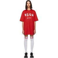 Msgm Red Paint Brushed Logo T Shirt Dress