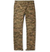 Rrl Dawson Camouflage Print Cotton Canvas Trousers Green