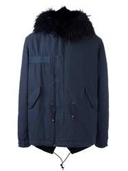 Mr And Mrs Italy Fur Trimmed Parka Blue