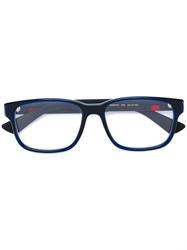 Gucci Eyewear Web Trim Rectangle Glasses Blue
