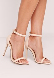 Missguided Rounded Strap Barely There Sandal Nude Patent Beige