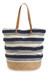 Sole Society Woven Bottom Tote Blue Navy