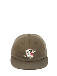 Mhi Tiger Embroidered Canvas Baseball Hat Army Green