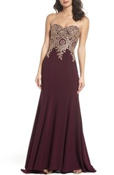 Xscape Evenings 'S Corset Back Embellished Strapless Gown Wine Gold