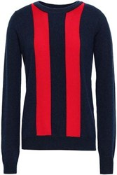 Madeleine Thompson Sha Sta Intarsia Knit Wool And Cashmere Blend Sweater Navy