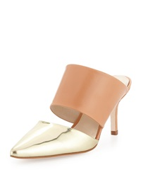 Etienne Aigner Lydia Metallic Pointed Toe Slide Pale Gold Mirror