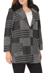 Evans Plus Size Women's Square Jacquard Coat With Faux Fur Collar