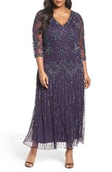 Pisarro Nights Plus Size Women's Beaded A Line Gown