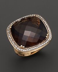 Bloomingdale's 14K Yellow Gold Diamond And Smoky Topaz Cushion Ring Brown Gold