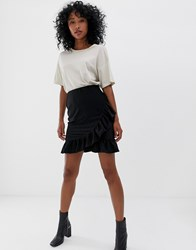 Pieces Liza Frill Mini Skirt Black Black