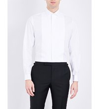 Smyth And Gibson Pleated Panel Slim Fit Cotton Shirt White