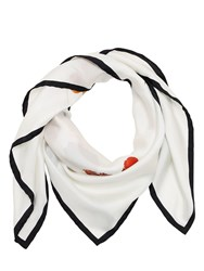 Burberry Logo Flower Bouquet Printed Silk Scarf White