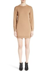 Burberry Women's Alewater Elbow Patch Merino Wool Dress Camel