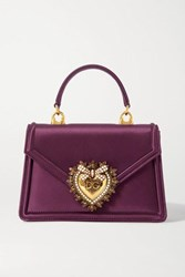 Dolce And Gabbana Devotion Mini Embellished Satin Tote Pink