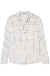 Vince Bar Plaid Checked Brushed Cotton Blend Shirt Off White