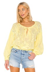 Free People Maria Maria Lace Blouse Yellow
