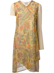 Walter Van Beirendonck Vintage Lurex Flower Dress Nude And Neutrals