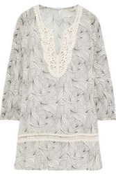 Eberjey Woman Guipure Lace Trimmed Printed Cotton Gauze Coverup Ivory