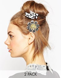 Asos Pack Of 2 Flower Vine Hair And Body Brooches White