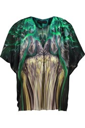 Maria Grachvogel Lagarde Printed Silk Top Green
