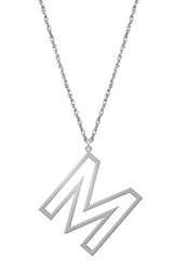 Women's Jane Basch Designs Varsity Initial Pendant Necklace Silver M