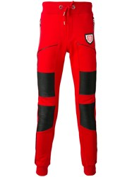 Philipp Plein Leather Panel Cotton Track Pants Men Cotton Polyester Polyurethane L Red